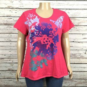 Just My Size Pink Floral Butterfly T-shirt PLUS